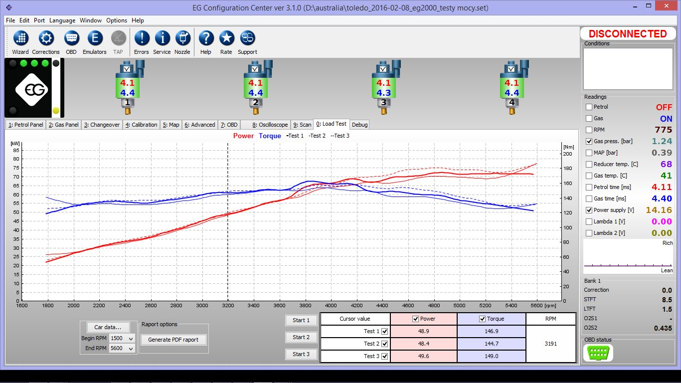 Superior CNG Kit Software Showing Power test results on CNG
